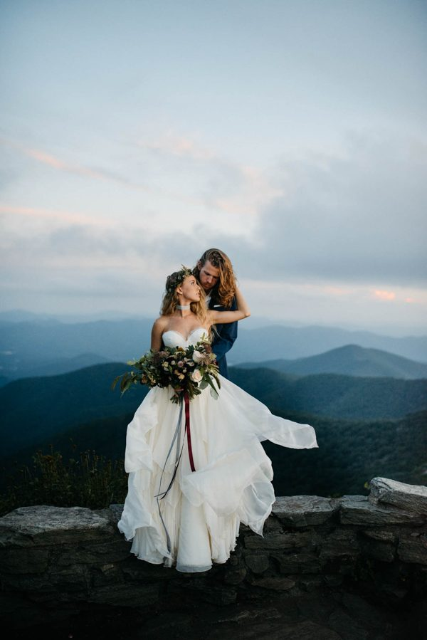 organic mountaintop elopement inspiration in the blue ridge parkway