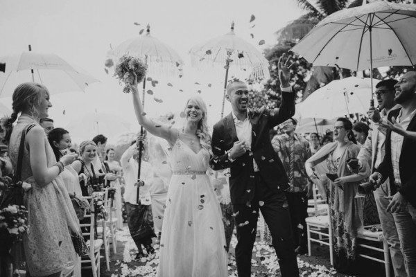 black and white ceremony exit photo