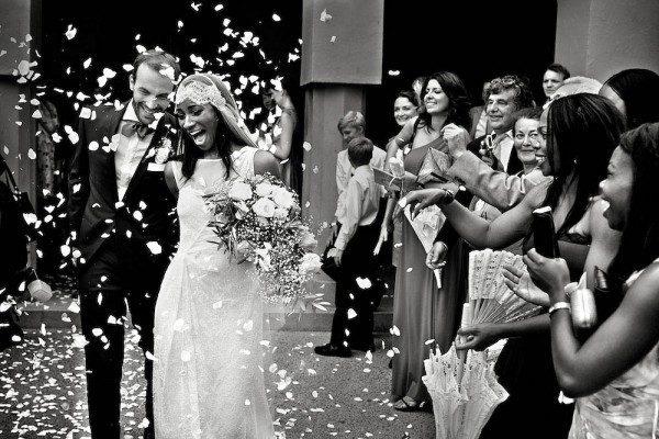 black and white confetti ceremony exit photo