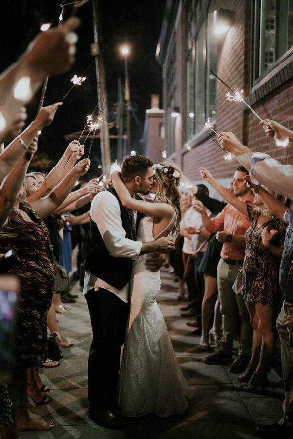 romantic kissing sparkler reception send-off