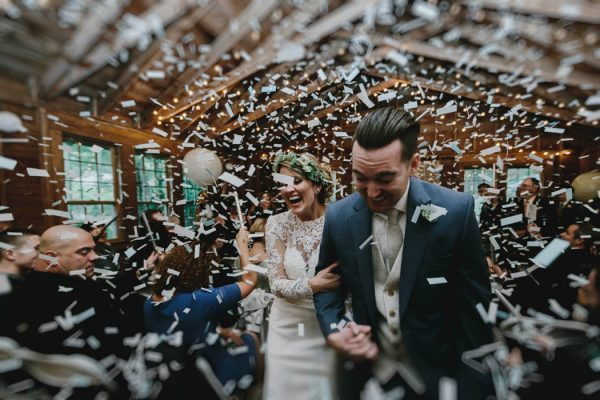 amazing ceremony exit with confetti