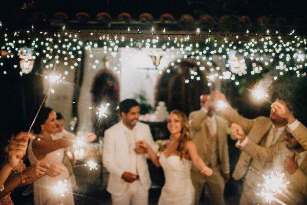 beautiful sparkler reception send-off photo