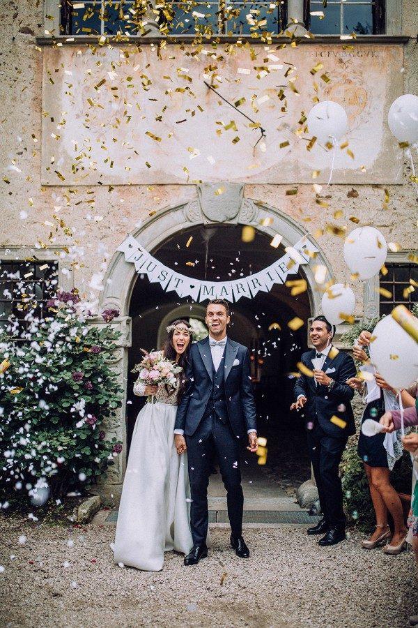 gold confetti ceremony exit inspiration