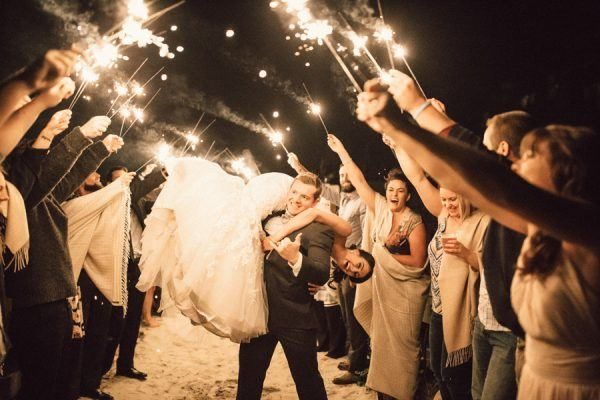 cute military sparkler reception send-off