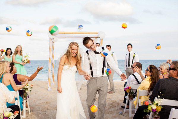 cute beach ceremony exit idea