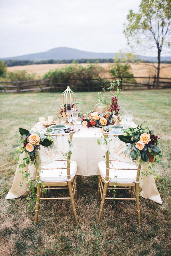 fall wedding sweetheart table