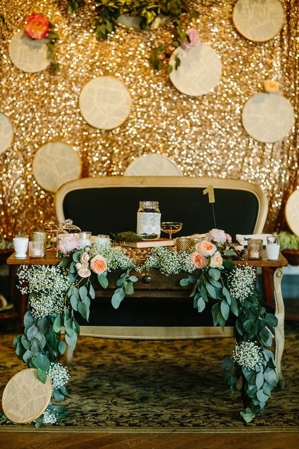romantic glamorous sweetheart table and backdrop