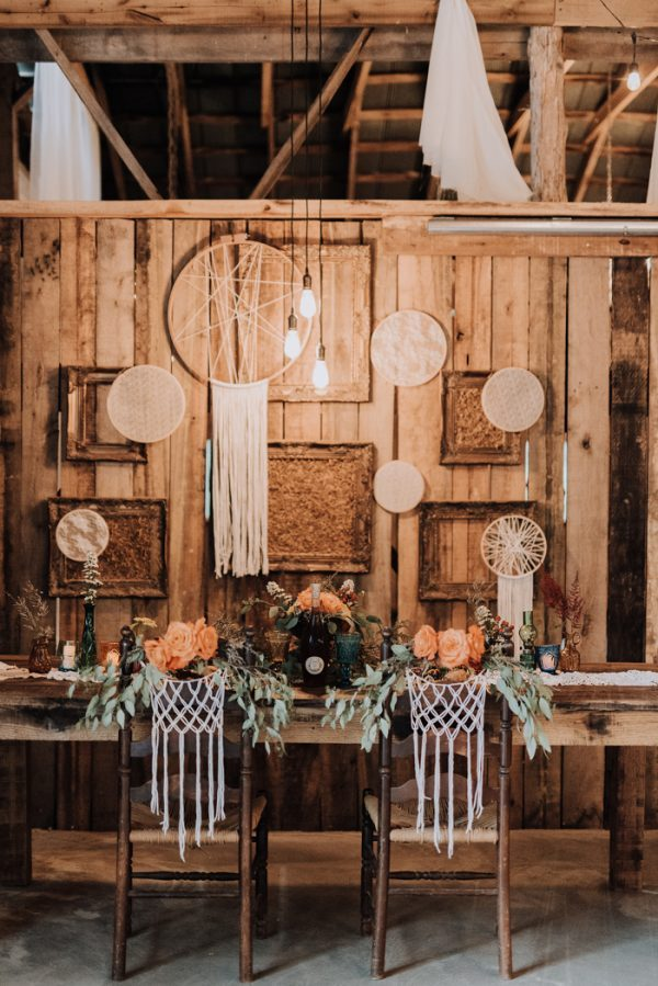rustic bohemian sweetheart table with macrame
