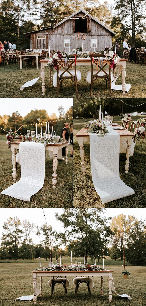 personalized rustic boho reception sweetheart table