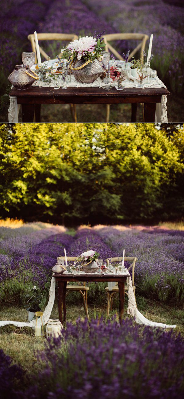 outdoor sweetheart table in a field