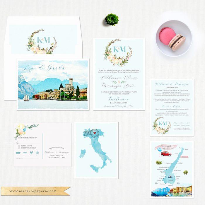 address wedding invitations - destination wedding invites acquarello