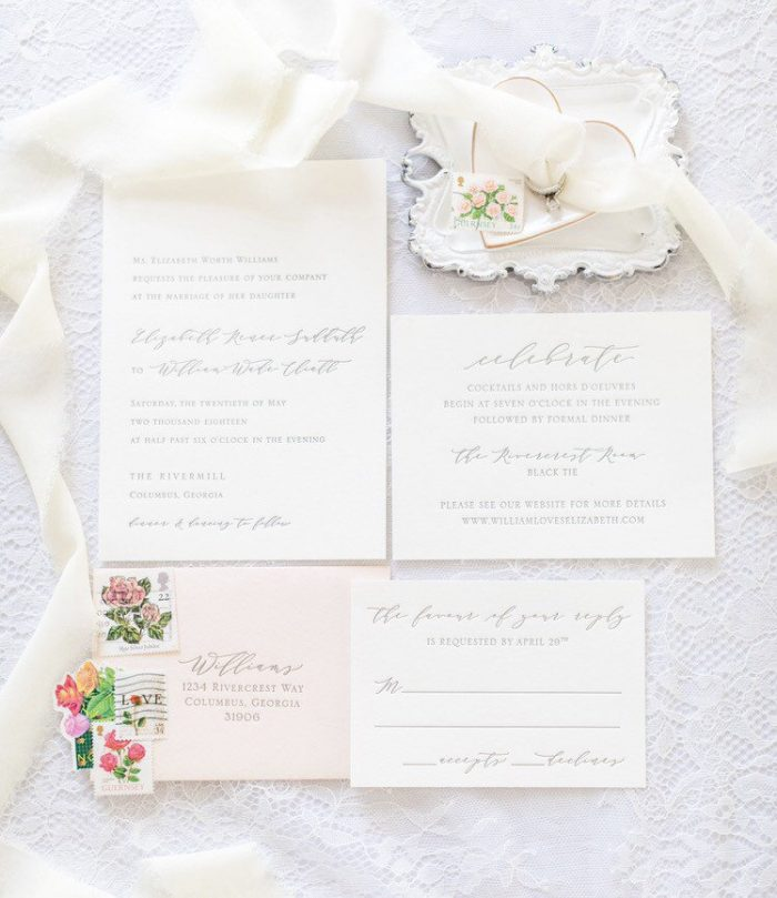 address wedding invitations - white wedding invites with silk ribbon and personalised stamps