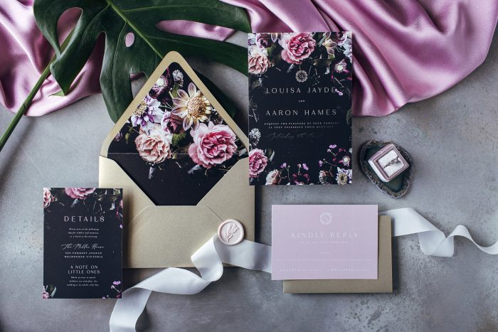 address wedding invitations - black and floral inspired wedding suite