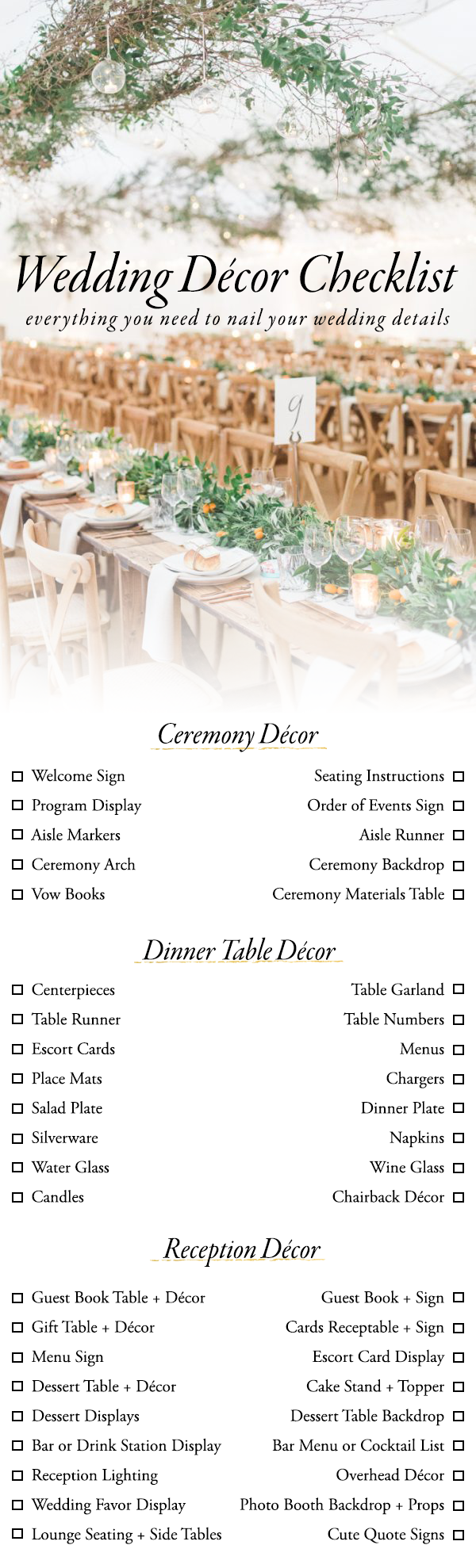 Use This Wedding Décor Checklist To Help You Nail Every