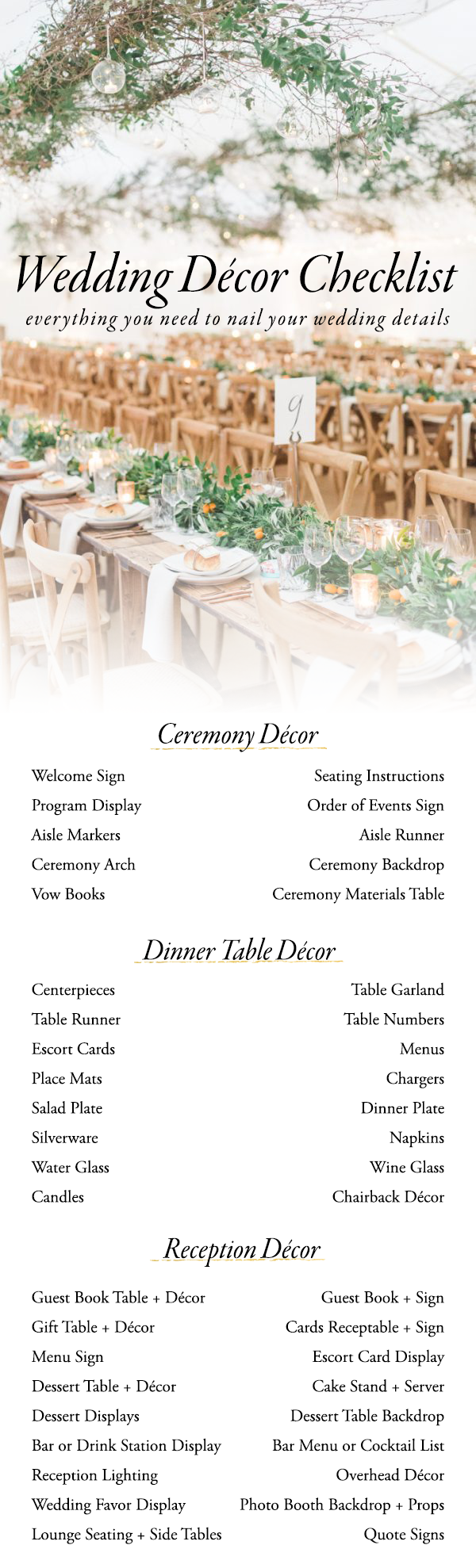 Use This Wedding Decor Checklist To Help You Nail Every