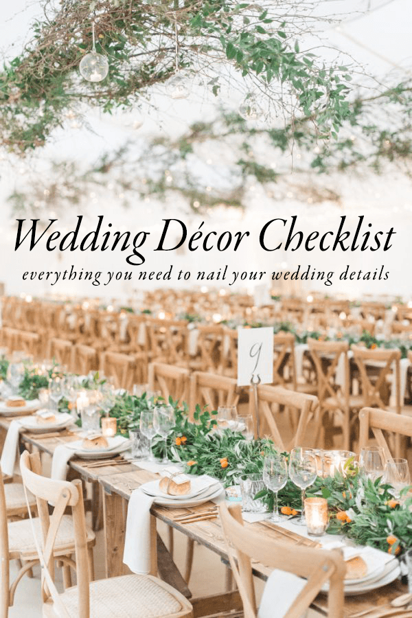 Use This Wedding Decor Checklist To Help You Nail Every Detail