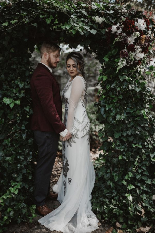 003e58c4ee49 Eclectic Silver and Burgundy Oklahoma Wedding at Skelly Lodge ...