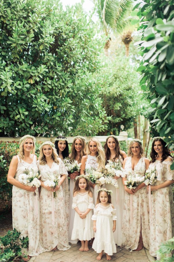 b2018e8d1b We all wore barefoot sandals and flower crowns. I was also in love with the flower  girls dresses! They looked like boho princesses in their off-the-shoulder  ...