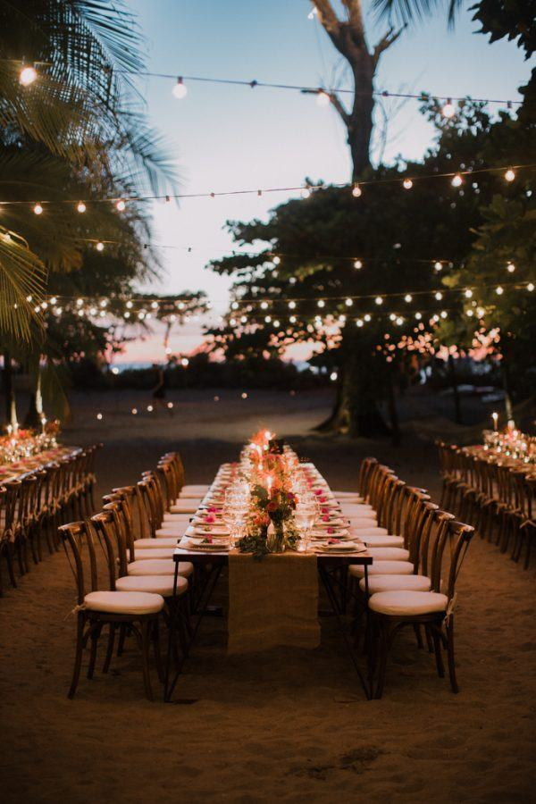 We Used Pops Of Bright Pink And Orange Amongst Burlap Runner Wooden Tables White Napkins D From The Table Flowers Greenery