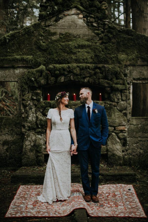 Candlelit Columbia Gorge Elopement at the Skamania Old Stone House