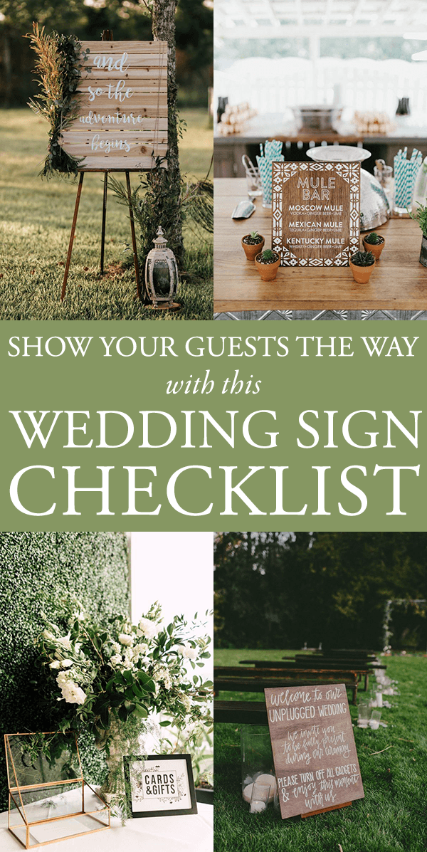 Show your guests the way with this wedding sign checklist junebug with so many details to manage checklists are a god send during the wedding planning process since youve already gotten started checking off details junglespirit Choice Image