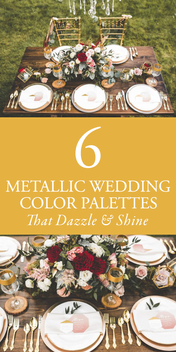 6 metallic wedding color palettes that dazzle and shine junebug 6 metallic wedding color palettes that dazzle and shine junebug weddings junglespirit Image collections