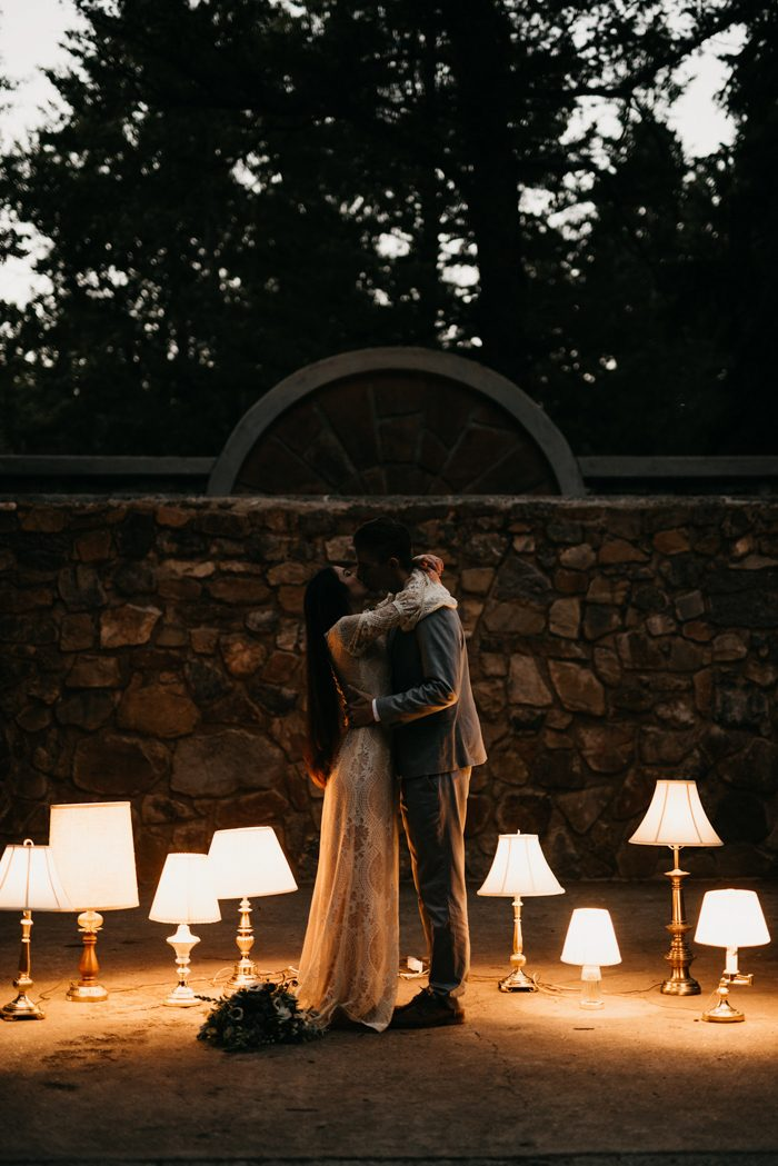 "Looking for Unique Wedding Inspiration"" You Have to See This Lamp Lit Ceremony at Theatre In The Pines"