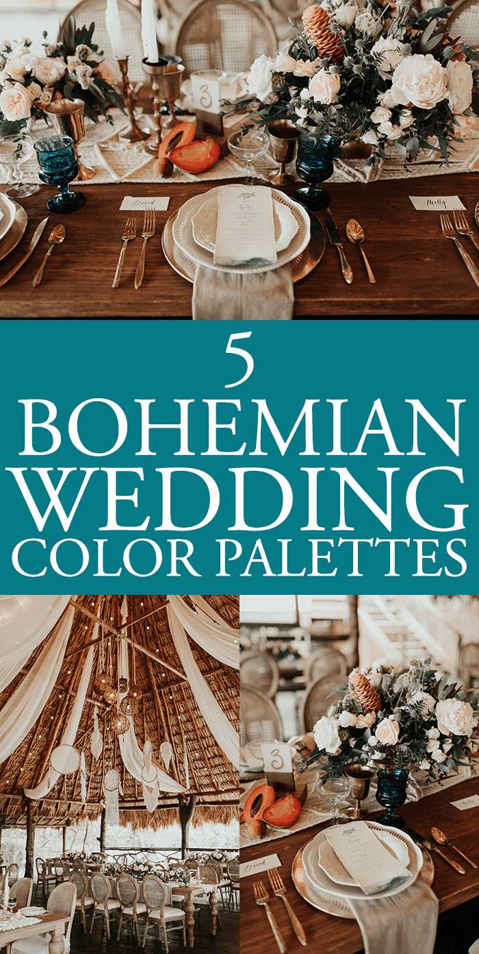 When it comes to choosing your wedding colors, a huge consideration is the  vibe and look you want for your day! These bohemian wedding color palettes  all ...