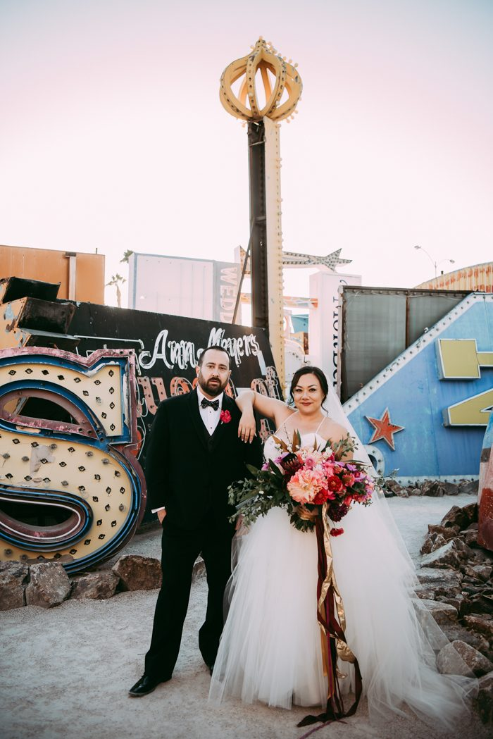 Wedding In Las Vegas.A Las Vegas Neon Museum Wedding Full Of Quirk Color And Charm