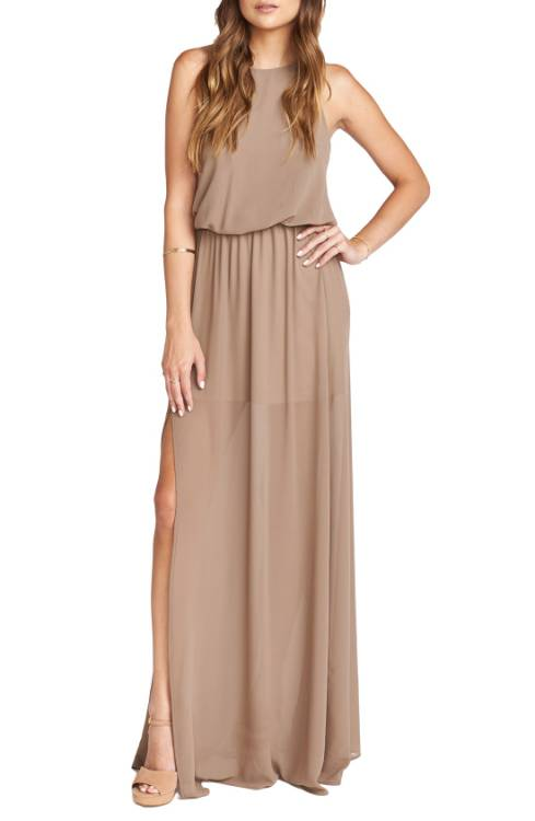 d8df10e7356 Show Me Your Mumu Caitlin Cold Shoulder Chiffon Gown in Dune