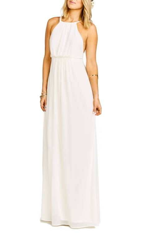 Show Me Your Mumu Amanda Open Back Blouson Gown In Wedding Cake Chiffon