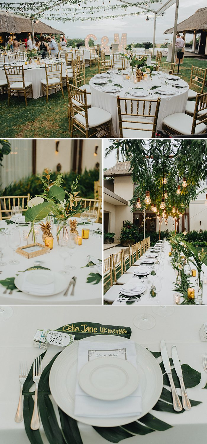 67f2b9ecf5d0 Natural palm leaves and wild orchids with gold details and golden  pineapples. We wanted something that was down to earth but also impressive  and creative.