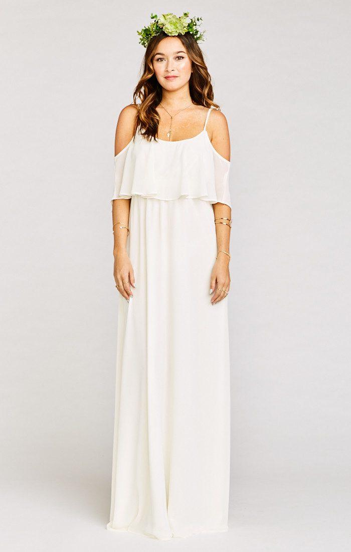 82beee04ddb Show Me Your Mumu Caitlin Ruffle Maxi Dress in Wedding Cake Chiffon