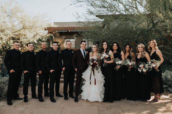 This Black, Burgundy, and Gold Desert Botanical Garden Wedding is a ...