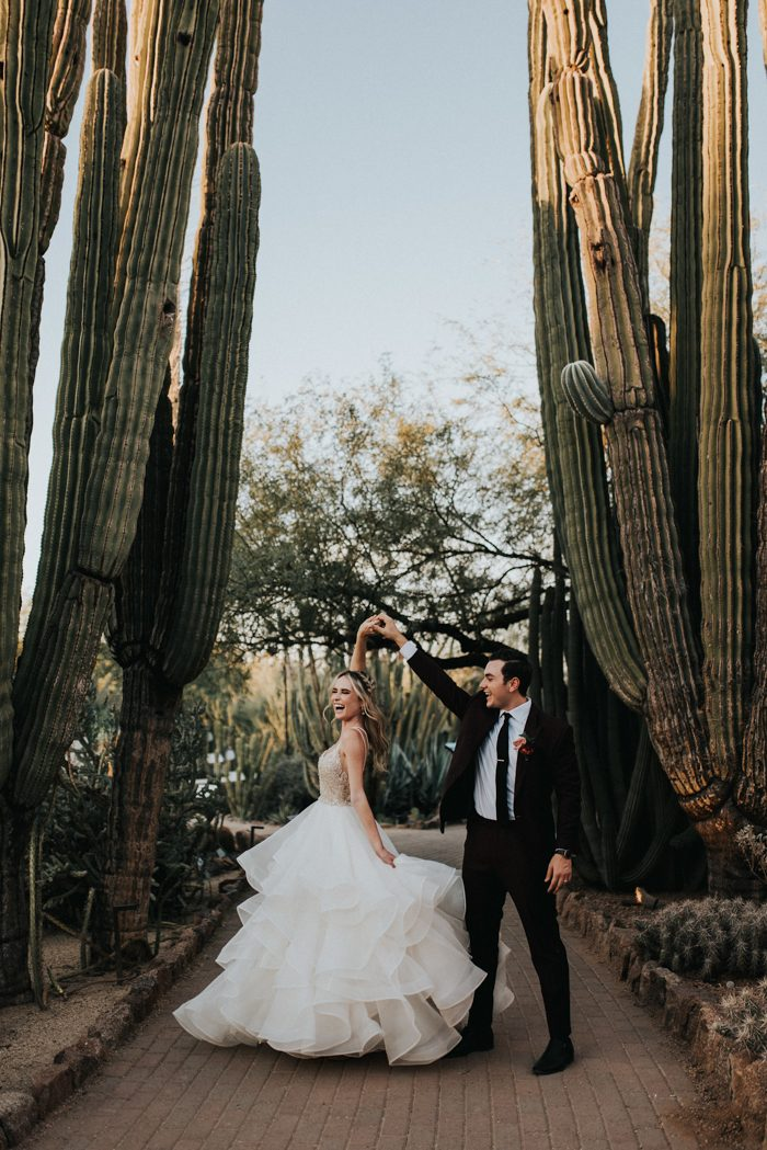 Kacia And Tony S Desert Botanical Garden Wedding Has The Most Perfectly Modern Rich Color Palette After Planning Herself