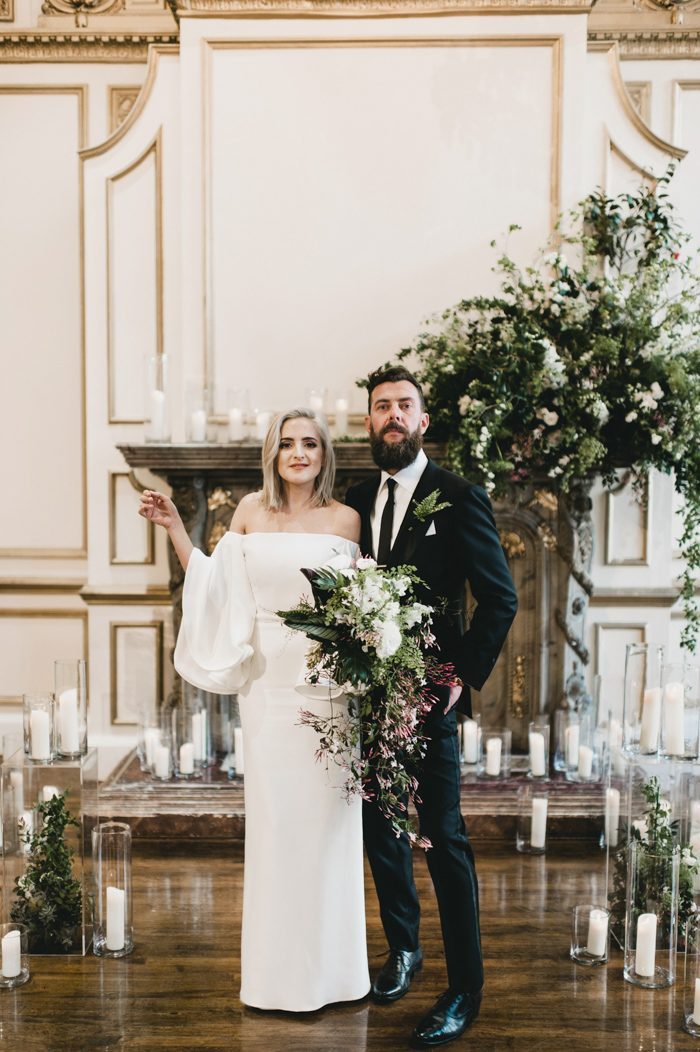 Between The Grand Downtown La Venue A Black And White Color Palette Greenery Forward Decor Sarah Patrick S Alexandria Ballrooms Wedding Was