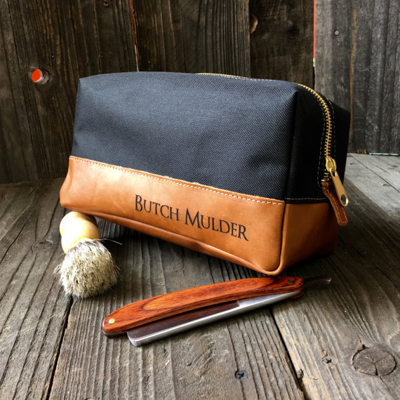 ca54ce75f6 Custom Leather and Canvas Toiletry Bag by urbanwrist