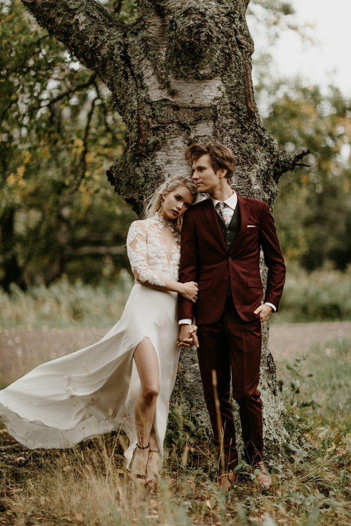 Aail And David S Diy Wedding At Gooseberry Falls Has Some Major Camp Vibes Wore A Gorgeous Linyage Dress Rocked Red Suit