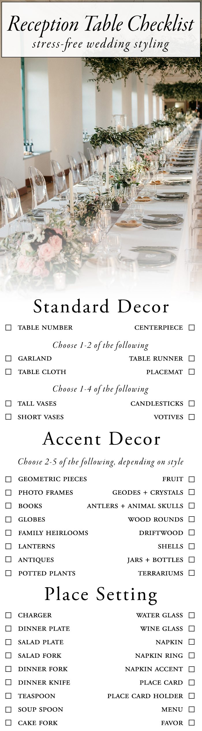 Use This Wedding Reception Table Checklist For Stress Free Styling Junebug Weddings