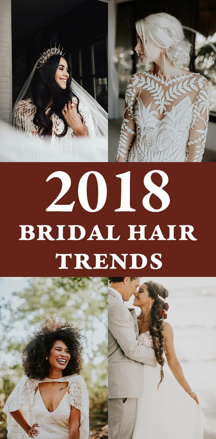 2018 bridal hair trends junebug weddings we know we say this every year but the 2018 bridal hair trends really are our very favorite this year brides are turning to volume up on their hairstyles junglespirit Image collections