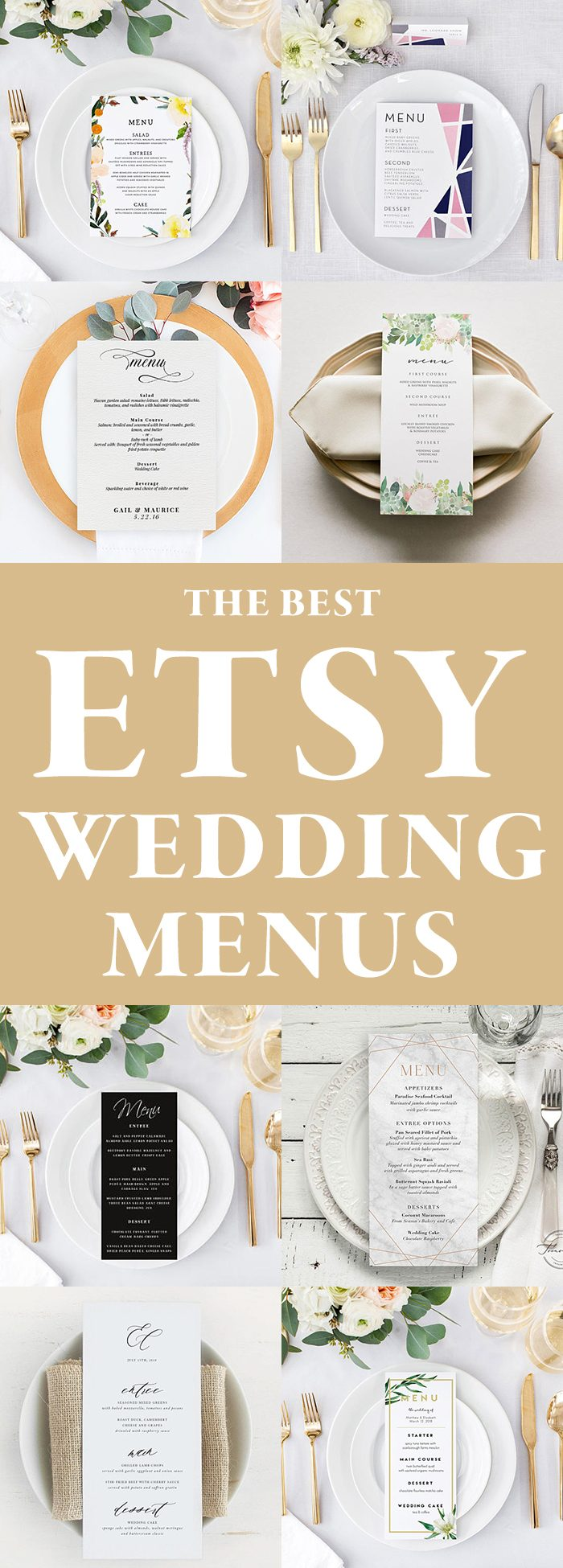 the best etsy wedding menu templates junebug weddings