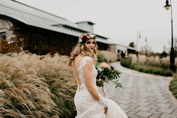 Burgundy Boho Salvage One Wedding in Chicago | Junebug Weddings