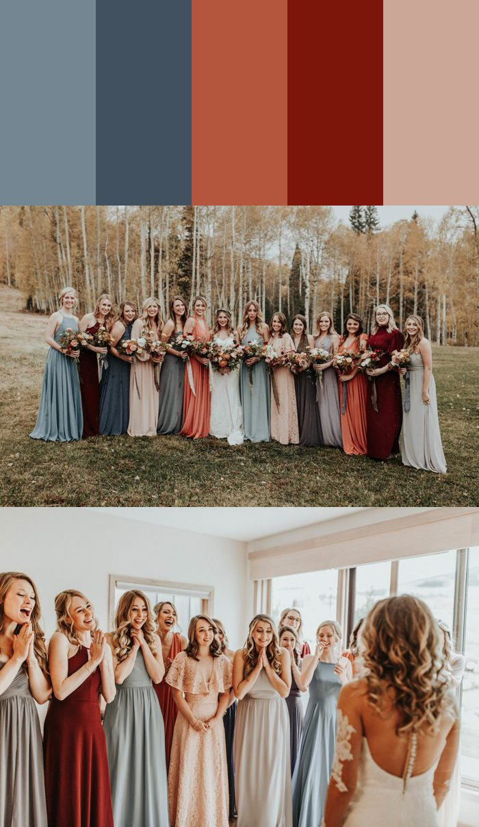 88aacec26f 13 Mismatched Bridesmaids Dress Color Palettes to Use Throughout ...