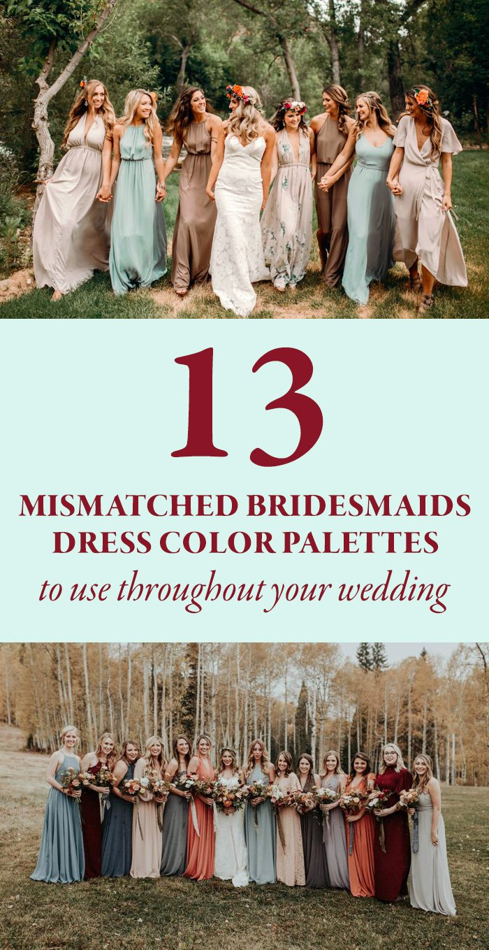 13 Mismatched Bridesmaids Dress Color Palettes to Use