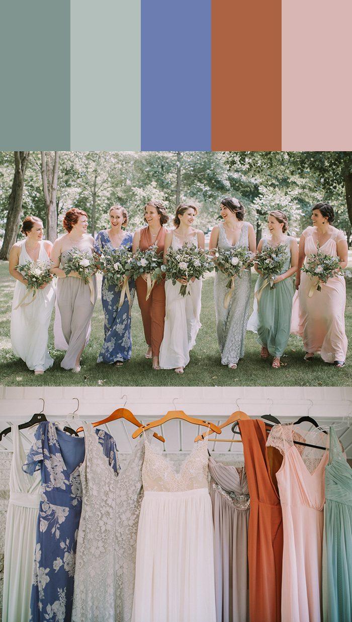 13 Mismatched Bridesmaids Dress Color Palettes