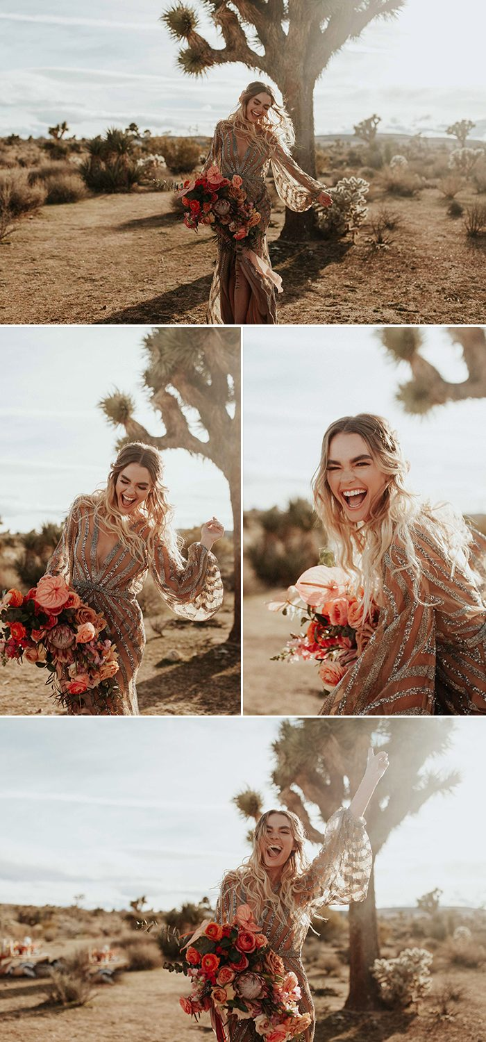 This Rose Gold Joshua Tree Wedding Inspiration Is Like A