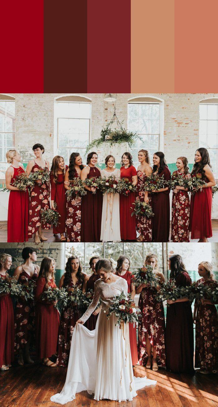 Burgundy Color Bridesmaid Dresses