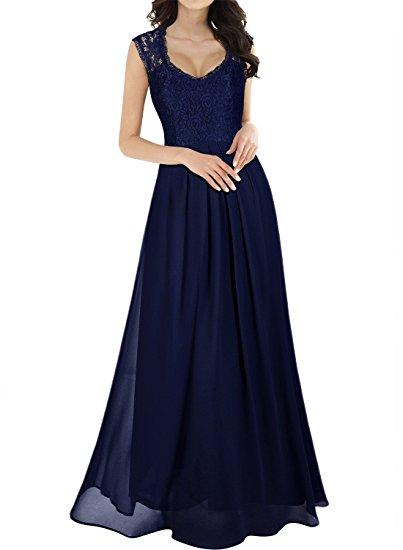 Misoul Women s Casual Deep V-Neck Sleeveless Vintage Maxi Dress cfdf13e3cc