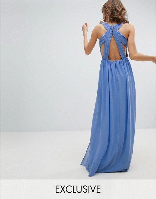 9abe4f9d5f98 TFNC Plus Wrap Maxi Bridesmaid Dress with Tie Detail and Puff Sleeves