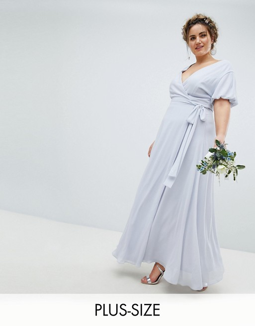 da3d30e8006 TFNC Plus Wrap Maxi Bridesmaid Dress with Tie Detail and Puff Sleeves